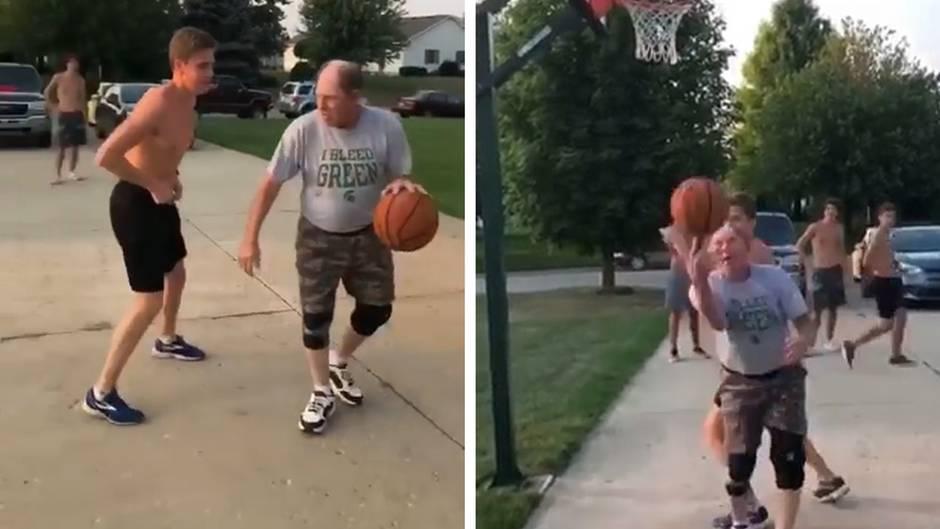 Opa hat's drauf: Ganz lässig: Basketball-Opa trickst Freund seines Enkels aus