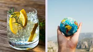 Gin im Glas und eine Weltkugel