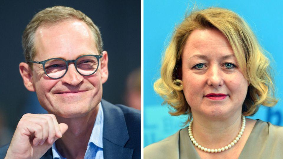 Berlins Regierender Bürgermeister (SPD) Michael Müller und seine Sprecherin Claudia Sünder