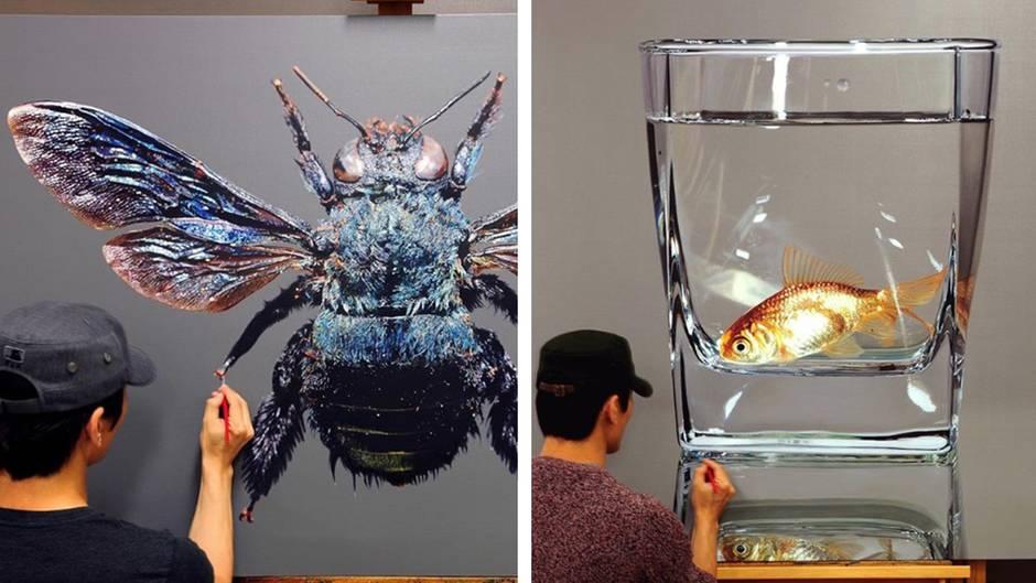 Hyperrealistische Kunst: Dieser Künstler malt Gemälde, die aussehen wie Fotos