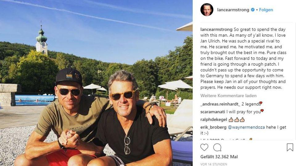 Lance Armstrong und Jan Ullrich auf einem Armstrong-Instagram-Post