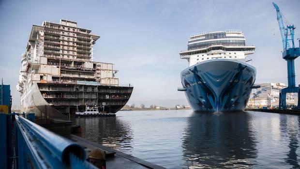 """Auf Platz 1 beim Nabu-Kreuzfahrt-Ranking 2018 steht ein Schiff, das sich noch imBau befindet: Die """"Aida Nova"""" entsteht auf der Meyer Werft in Papenburg und wird das erste Kreuzfahrtschiff weltweit sein, das mit Flüssigerdgas angetrieben wird."""
