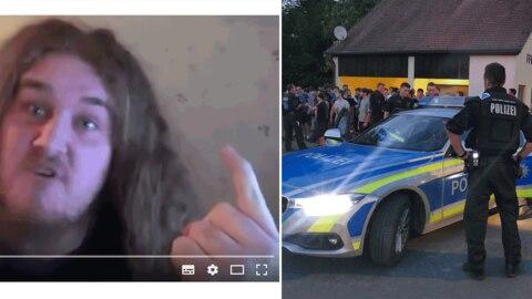 "Links: Screenshot vom ""Drachenlord1510""; rechts: Polizeiauto bei Hass-Demo gegen den ""Drachenlord"""