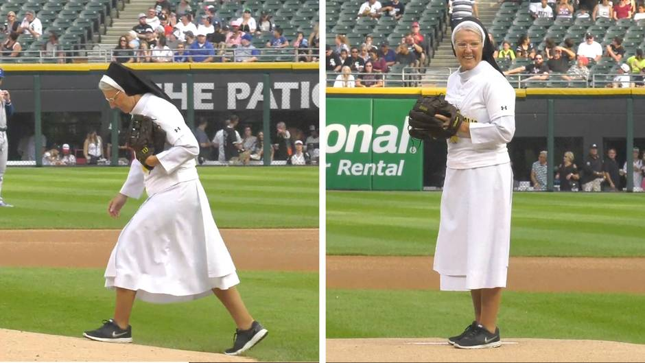 """First Pitch"" der Extraklasse: Gottes rechter Arm? Nonne verblüfft mit grandiosem Baseball-Wurf"
