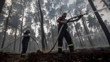 Feuerwehrmänner bekämpfen den Waldbrand bei Treuenbrietzen