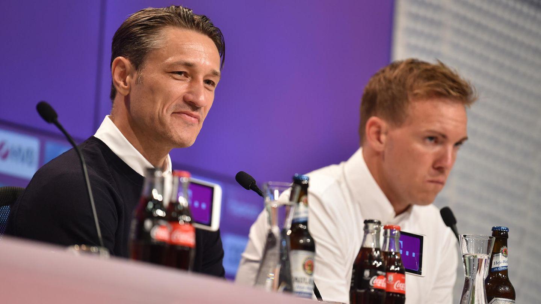 Nico Kovac und Julian Nagelsmann  auf der Pressekonferenz nach dem Spiel