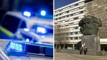 Blaulicht von mehreren Polizeifahrzeugen, das Karl-Marx-Denkmal in Chemnitz