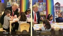 Donald Trump will US-Flagge ausmalen – und schafft nicht einmal das