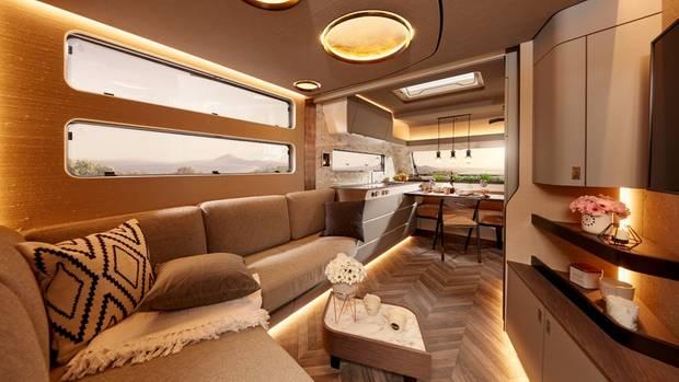 Die Lichtelemente sind unterhalb des Bettes angebracht.