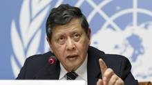 Marzuki Darusman auf der Pressekonferenz der UN