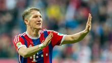 Bastian Schweinsteiger freut sich im April 2015 über ein Tor gegen Hertha BSC. Drei Jahre nach seinem Abschied aus München findet nun seinAbschiedsspiel statt