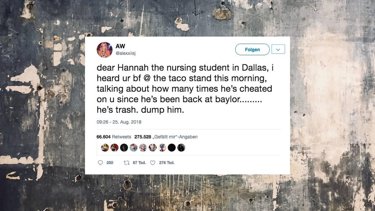 Nachricht bei Twitter: Frau trennt sich von ihrem Freund, der ...