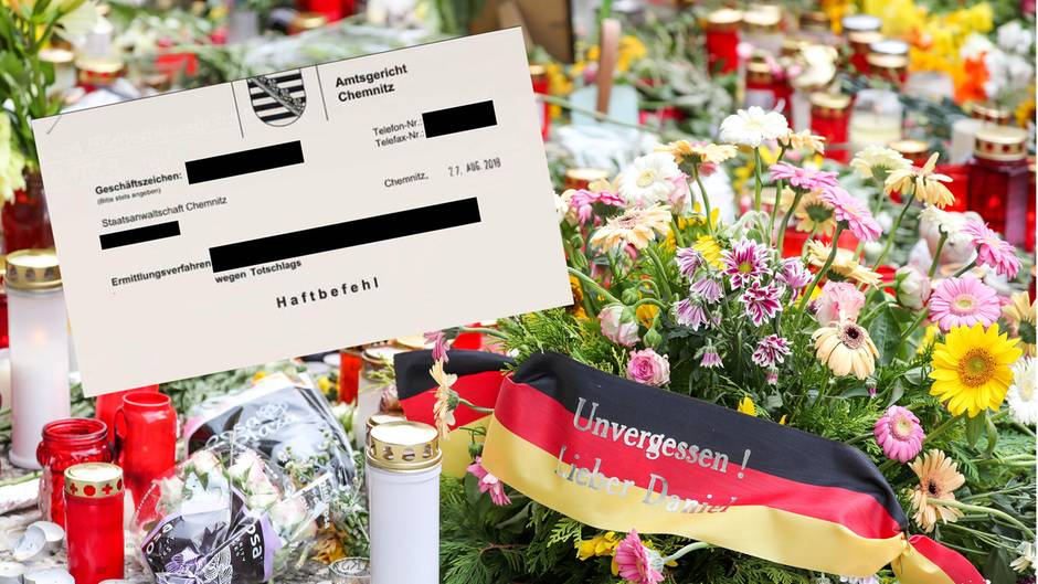 Blumen und Kerzen am Tatort in Chemnitz, der veröffentlichte Haftbefehl