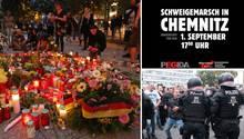 Blumen und Kerzen am Tatort in Chemnitz, der Aufruf von Pegida und AfD, Demonstrationsszene vom Montag