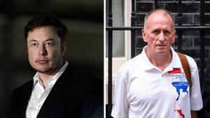Tesla-Chef Elon Musk (l.) wird von Höhlentaucher Vernon Unsworth (r.) wegen Beleidigung verklagt