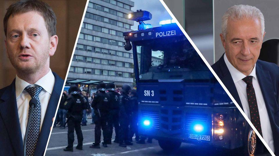 Über Stunden war die Innenstadt von Chemnitz, so schien es, in der Hand von Nazis, Hooligans und rechten Schlägern. Der CDU in Sachsen und dem langjährigen Ministerpräsidenten Stanislaw Tillich (r.) und seinem Nachfolger Michael Kretschmer (l.) wird vorgeworfen, die rechtsextremen Umtriebe im Freistaat zu lange toleriert zu haben
