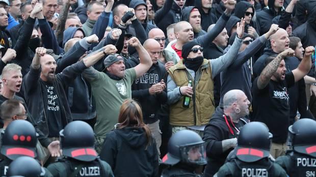 Die Innenstadt von Chemnitz am Karl-Marx-Monument am vergangenen Montag