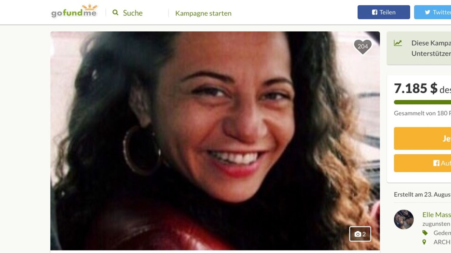 Screenshot der Gofundme-Kampagne für Tammy Fox
