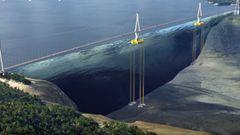 Die mittleren Pfeiler werden von Unterwasser-Pontons getragen - die Brücke schwimmt.