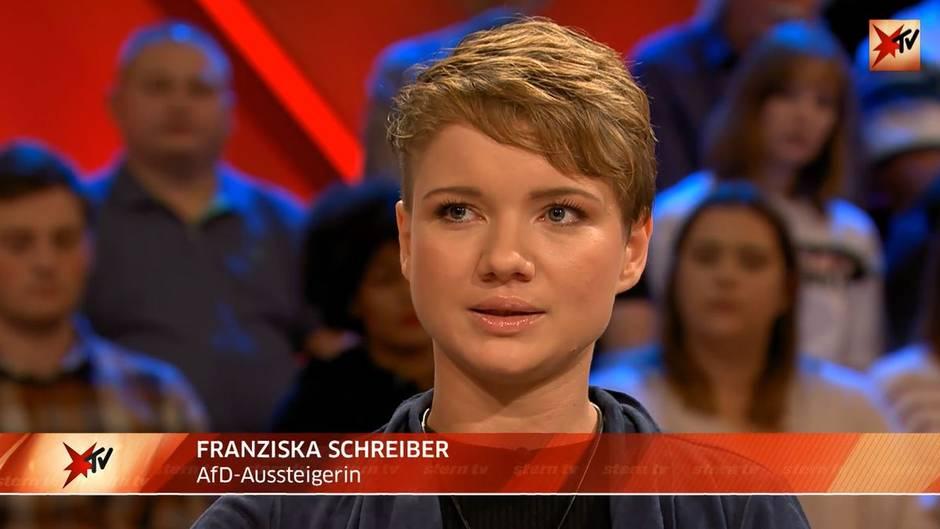 """stern TV-Studiotalk zu Chemnitz am 29.08.2018: Ehemaliges Parteimitglied Franziska Schreiber: """"Für die AfD ist das ein Glücksfall!"""""""