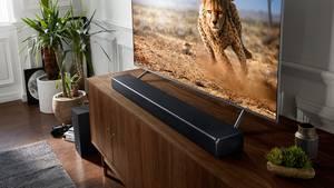 Die Samsung-SoundbarHW-N950 bietet mit der passenden Peripherie 7.1.4-Sound - und das ohne Kabelsalat