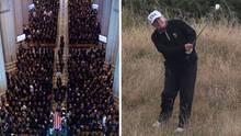 Trauerfeier für John McCain (li.), US-Präsident Donald Trump ging zeitgleich golfen (Archivfoto)
