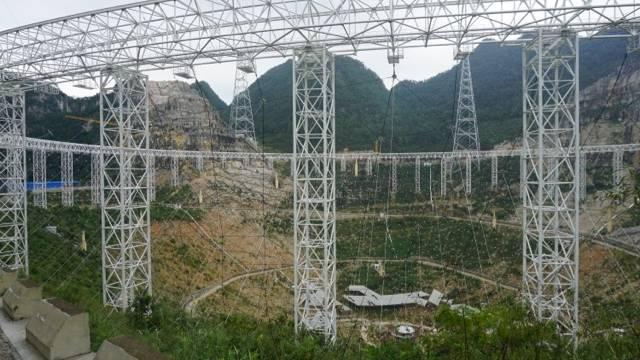 Der Bau des Teleskops im Jahr 2015.