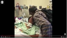 Screenshot des CBS-News-Videos: Krebskranke Waverlee und Luther Younger im Krankenhaus