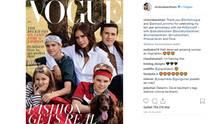 Victoria Beckham mit ihren Kindern Harper, Romeo, Brooklyn und Cruz (v.l.n.r.)