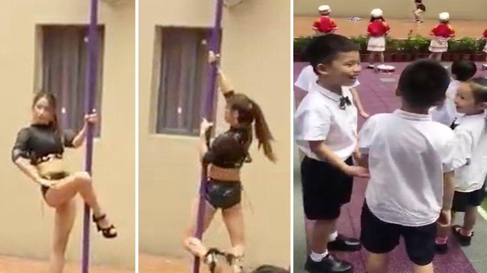 In diesem Kindergarten tanzt eine Poledancerin