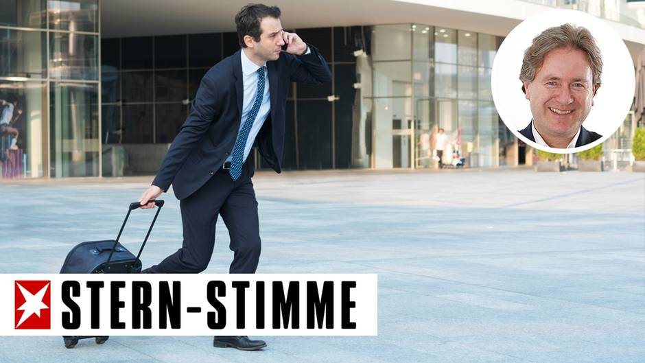 Das Handy am Ohr, den Rollkoffer in der Hand -Dienstreisen können ganz schön stressig sein