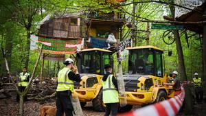 Mitarbeiter von RWE räumen den Hambacher Forst
