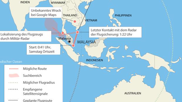 Das unbekannte Flugzeug auf Google Maps liegt in Nähe der geplanten Flugroute von MH370