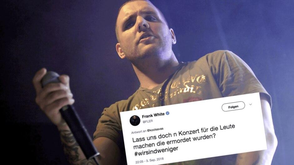 Kollage: Rapper Fler bei einem Auftritt, der Tweet von Fler zu Chemnitz und #wirsindmehr