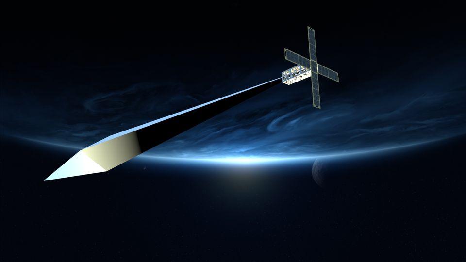 "Simulation der Satelliten-Skulptur ""Orbital Reflector"" im All"