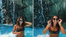 Sarah Lombardi: Im Leoparden-Bikini unterm Wasserfall im Kos-Urlaub
