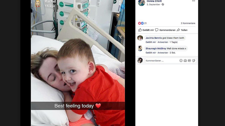 Ein kleiner Junge umarmt seine Mutter im Krankenbett