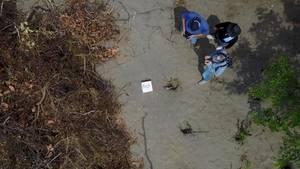 Luftaufnahme vom Teil des Massengrabs in Mexiko