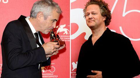 Alfonso Cuarón (l.) freut sich über seinen Goldenen Löwen, Florian Henckel von Donnersmarck ging leer aus