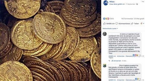 Die rund 300 Münzen aus der späten Römerzeit könnten mehrere Millionen Euro wert sein