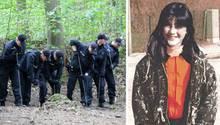 Polizeibeamte durchsuchen den Hamburger Volkspark, die veschwundene Hilal Ercan