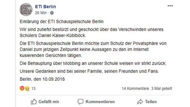 Das Facebook-Posting von Küblböcks Schauspielschule