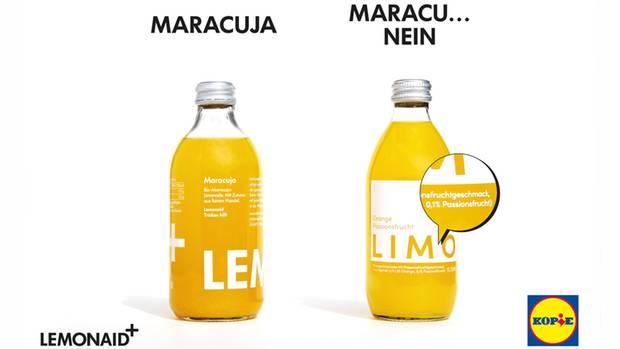 Die Lidl-Limo sieht aus wie die Lemonaid-Maracuja, enthält aber keinen Maracuja-Saft, sondern 3 Prozent Orange und 0,1 Prozent Passionsfrucht