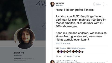 """Screenshot des Tweets """"Hartz 4 ist der größte Scheiß"""""""