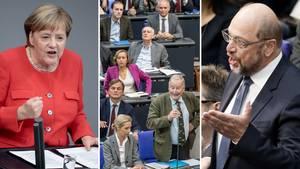 Bundestag: Schulz platzt wegen AfD der Kragen, Merkels geschickter Seitenhieb