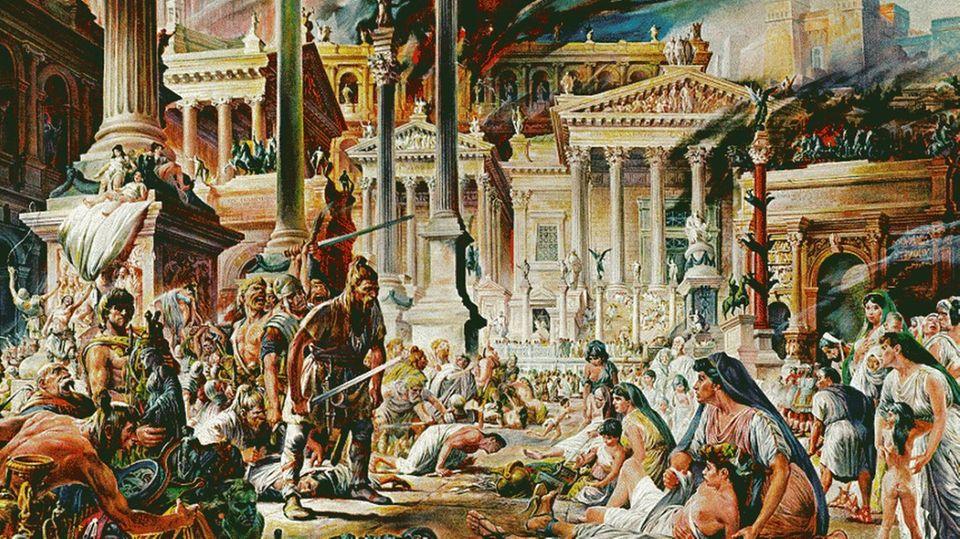 Así se imaginaba la gente el saqueo de Roma en el siglo XIX.