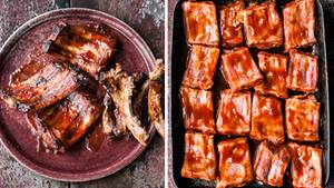 Zarte Ofenrippchen vom Schwein, mariniert in Tomate, Zucker, Senf und Zitrone.
