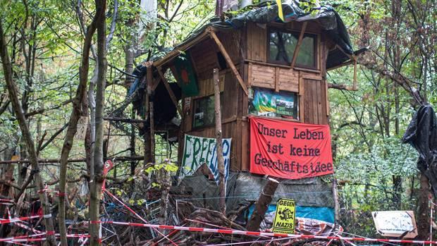 Ein Baumhaus im Hambacher Forst