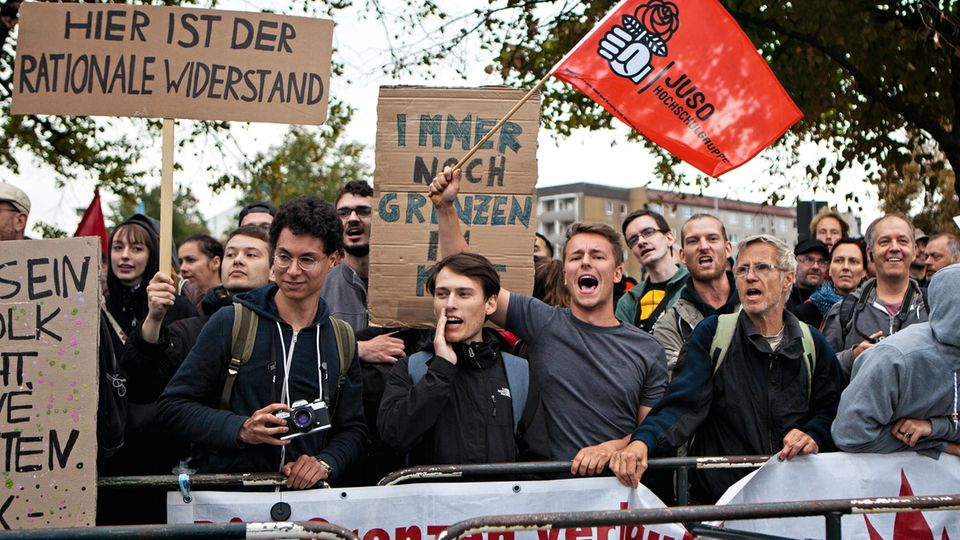 Gegner der Rechten in der Chemnitzer Innenstadt