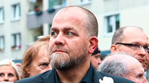 Bachmanns Stellvertreter Siegfried Däbritz bei derDemonstration